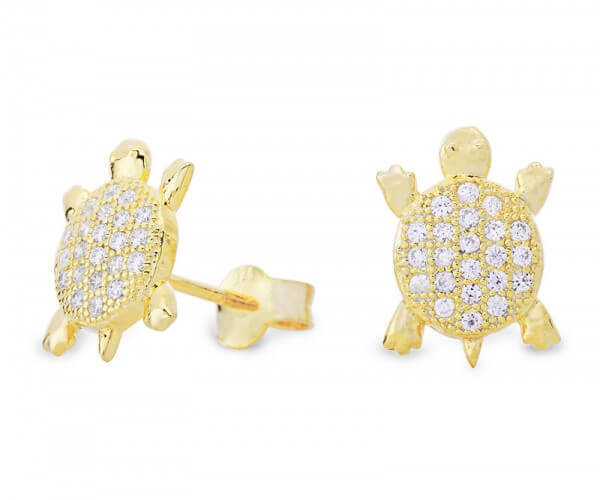 21db2bfdb Turtle Stud Earrings Silver gold plated - Dragon's Cave - ESZ1070
