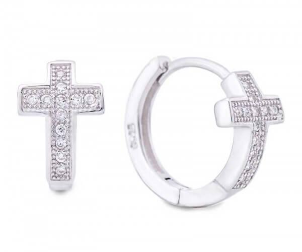 a8acbe558 Hoop Cross Earrings Silver Zirconia - Jewellery Dragon's Cave - ESZ1017